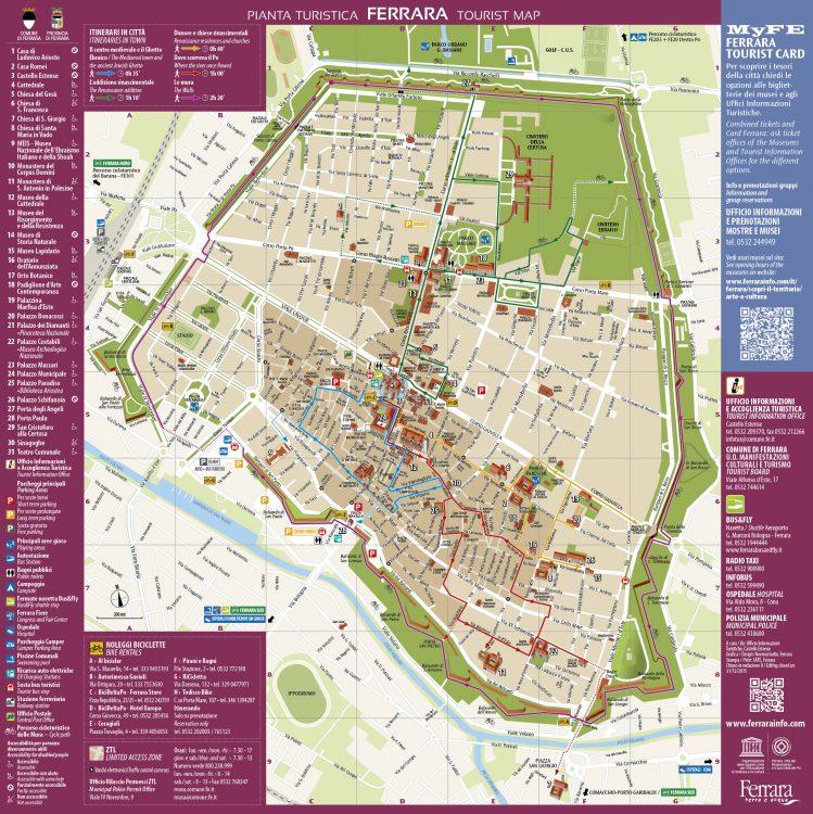 Turismo: la mappa turistica di Ferrara