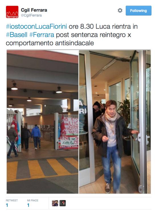 Luca Fiorini ritorna al lavoro