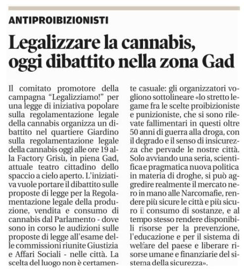 Legalizzare la cannabis, oggi dibattito nella zona Gad